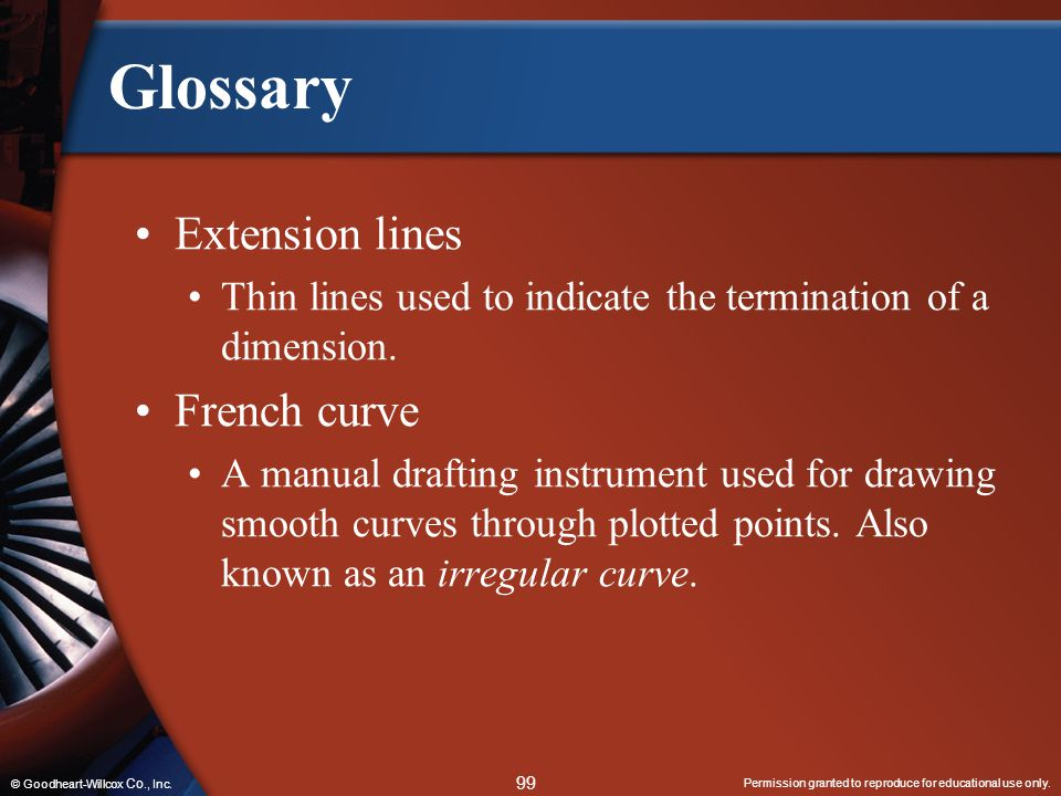 Glossary Extension lines French curve