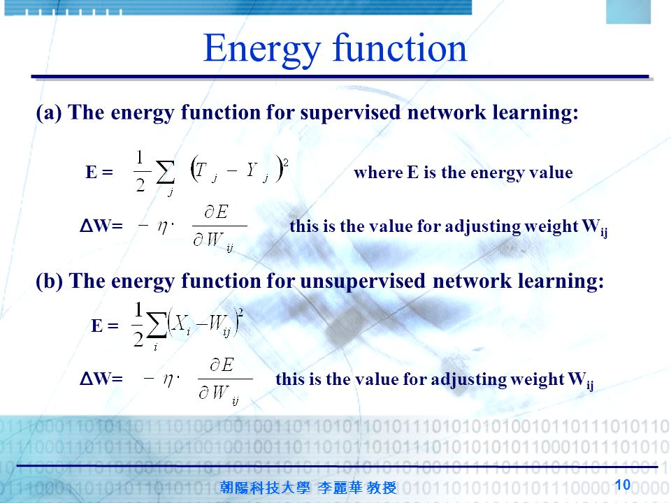 Energy function (a) The energy function for supervised network learning: