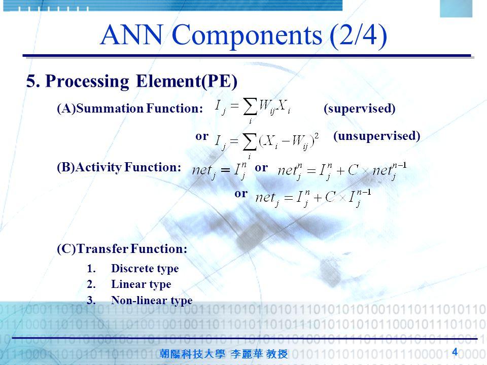 ANN Components (2/4) 5. Processing Element(PE)