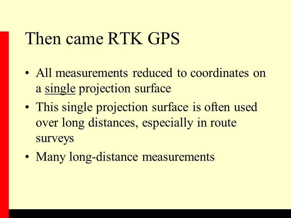 Then came RTK GPS All measurements reduced to coordinates on a single projection surface.