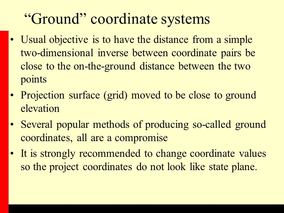 Ground coordinate systems