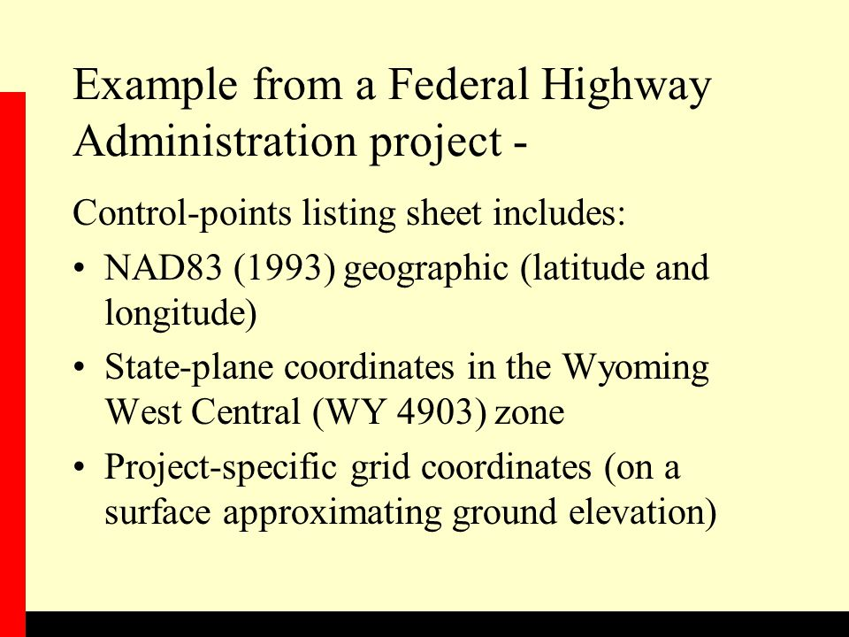 Example from a Federal Highway Administration project -