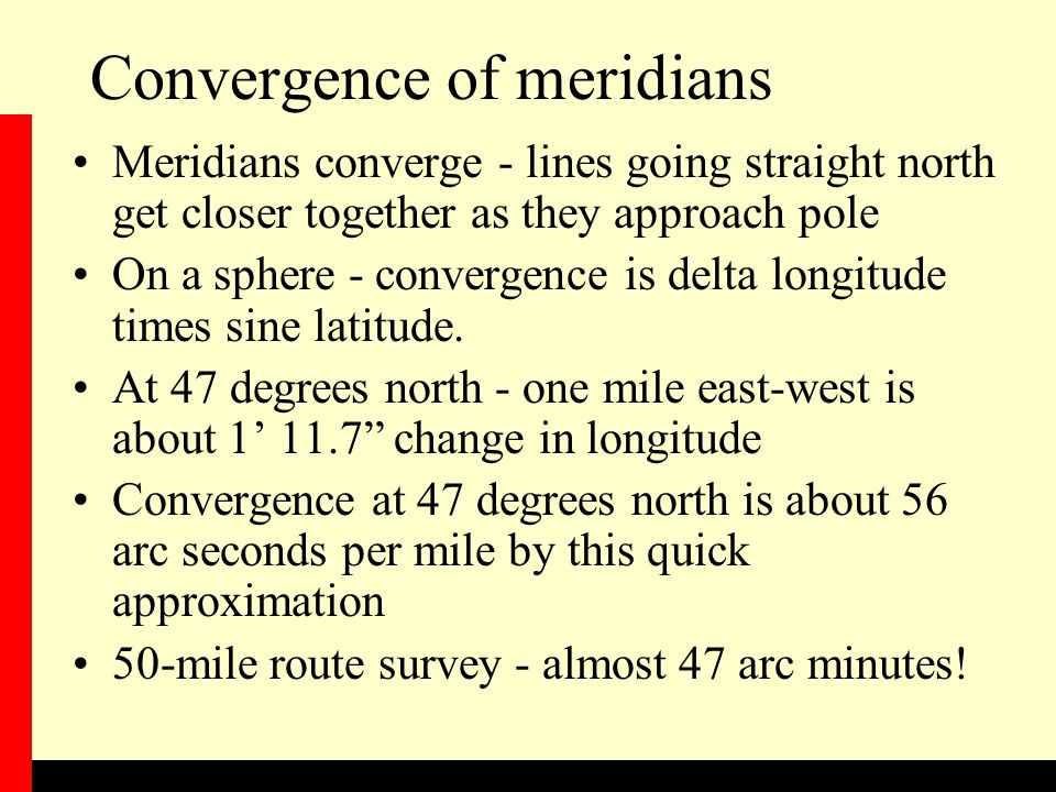 Convergence of meridians
