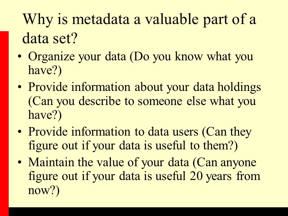Why is metadata a valuable part of a data set