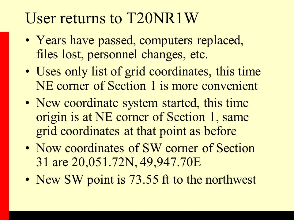 User returns to T20NR1W Years have passed, computers replaced, files lost, personnel changes, etc.