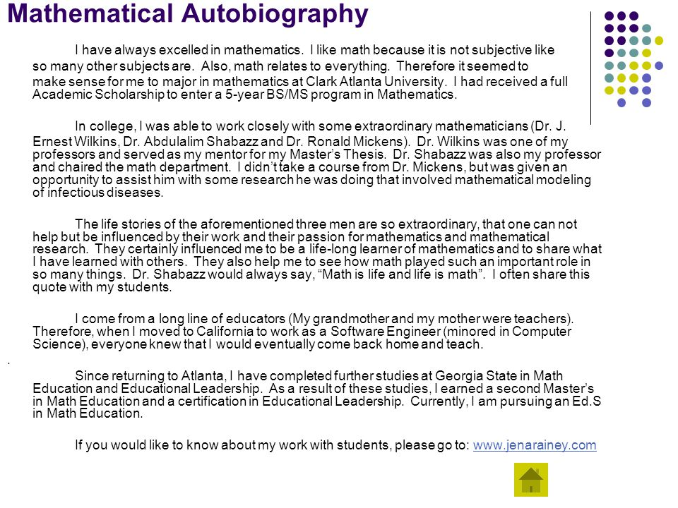 autobiography difficulties in mathematics ppt