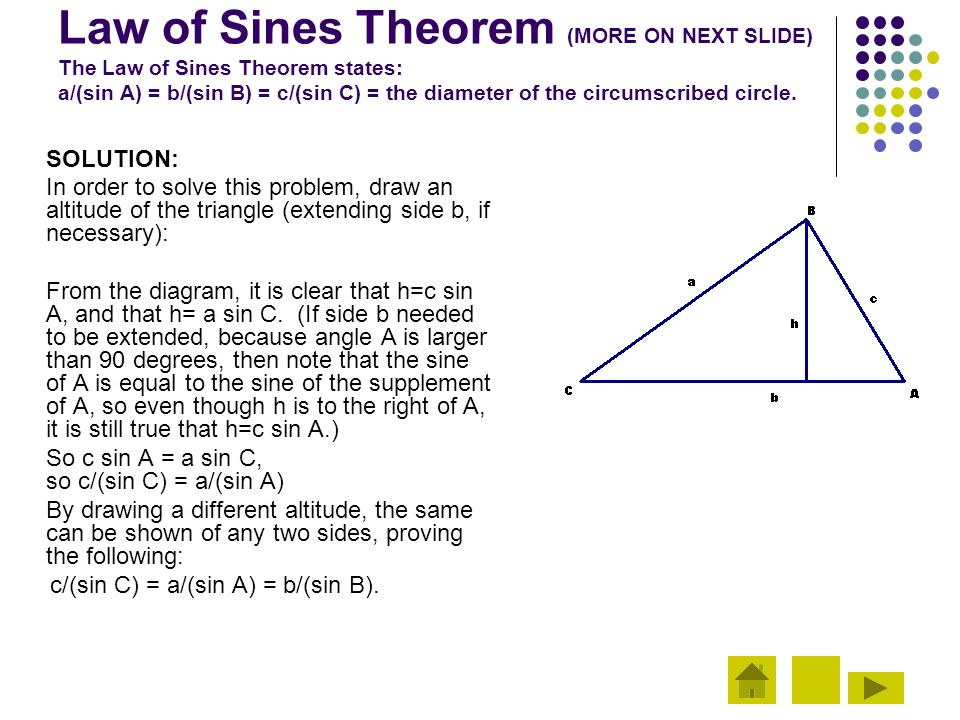 Law of Sines Theorem (MORE ON NEXT SLIDE) The Law of Sines Theorem states: a/(sin A) = b/(sin B) = c/(sin C) = the diameter of the circumscribed circle.