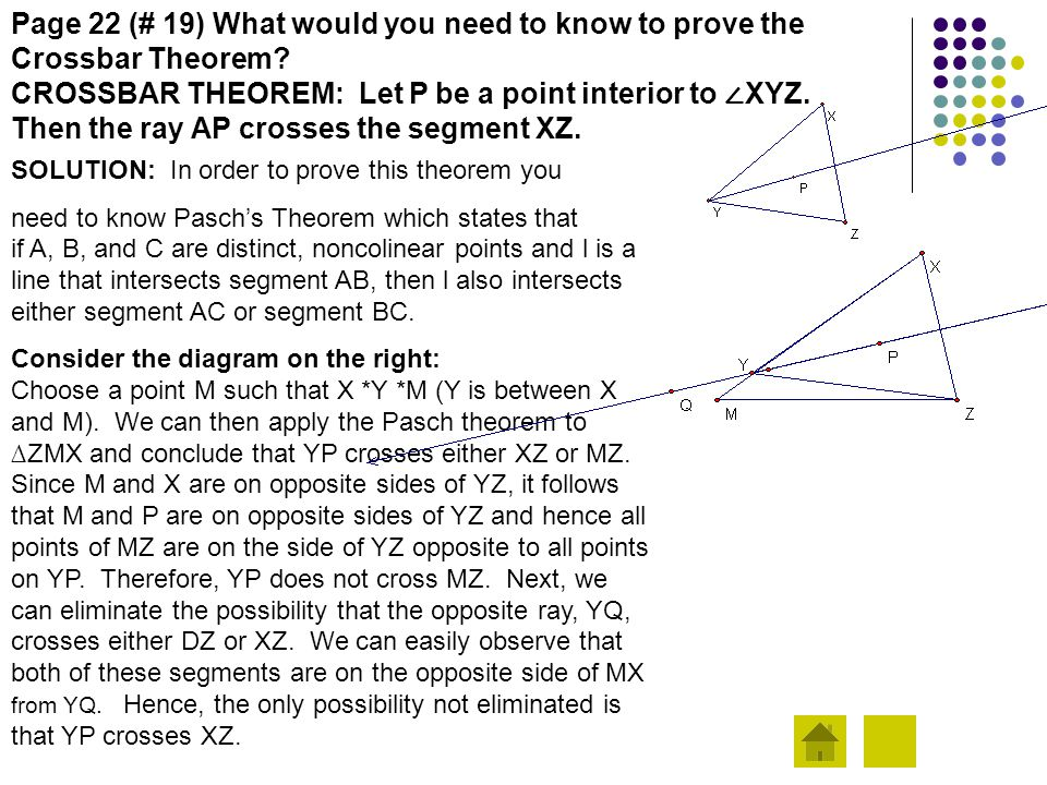 Page 22 (# 19) What would you need to know to prove the Crossbar Theorem