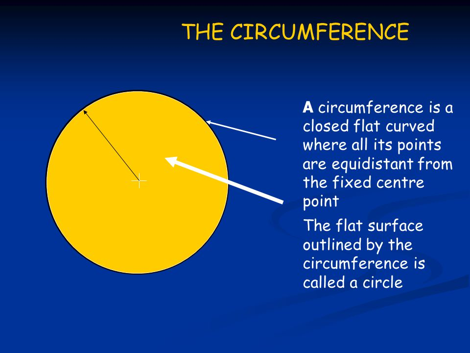 THE CIRCUMFERENCE A circumference is a closed flat curved where all its points are equidistant from the fixed centre point.