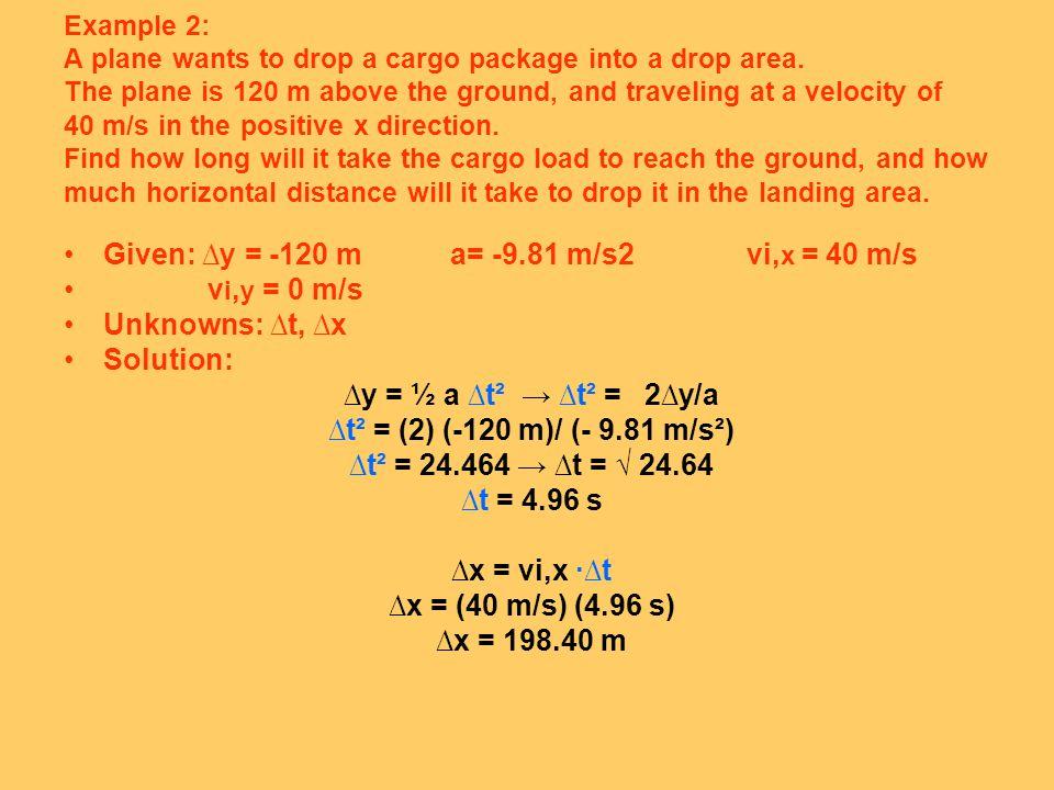 Given: ∆y = -120 m a= -9.81 m/s2 vi,x = 40 m/s vi,y = 0 m/s