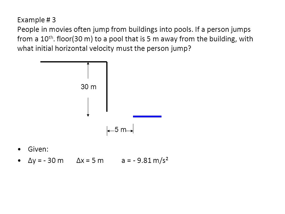 Example # 3 People in movies often jump from buildings into pools