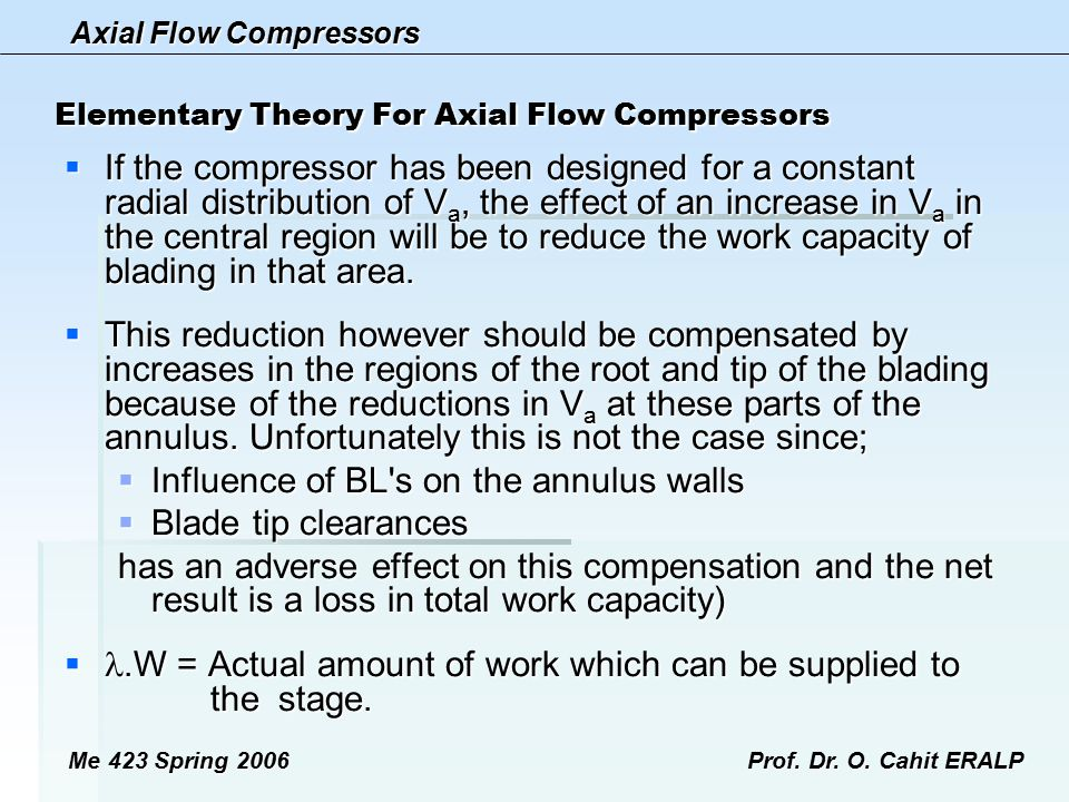 Elementary Theory For Axial Flow Compressors