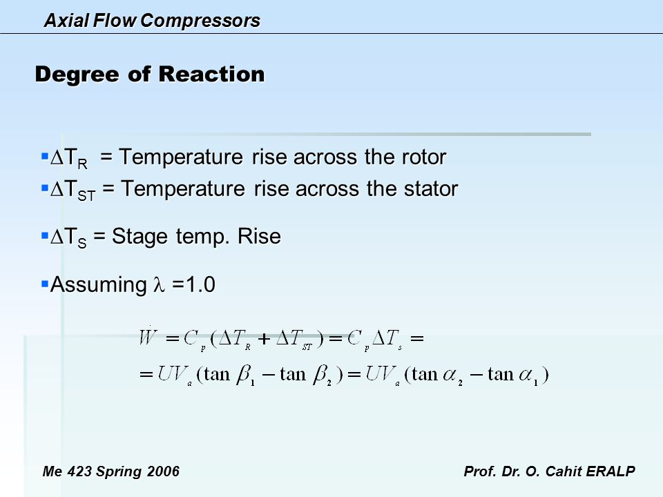 TR = Temperature rise across the rotor