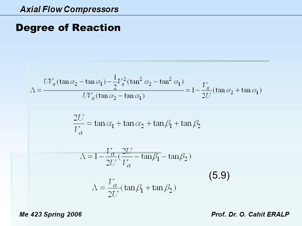 Degree of Reaction (5.9) Me 423 Spring 2006 Prof. Dr. O. Cahit ERALP