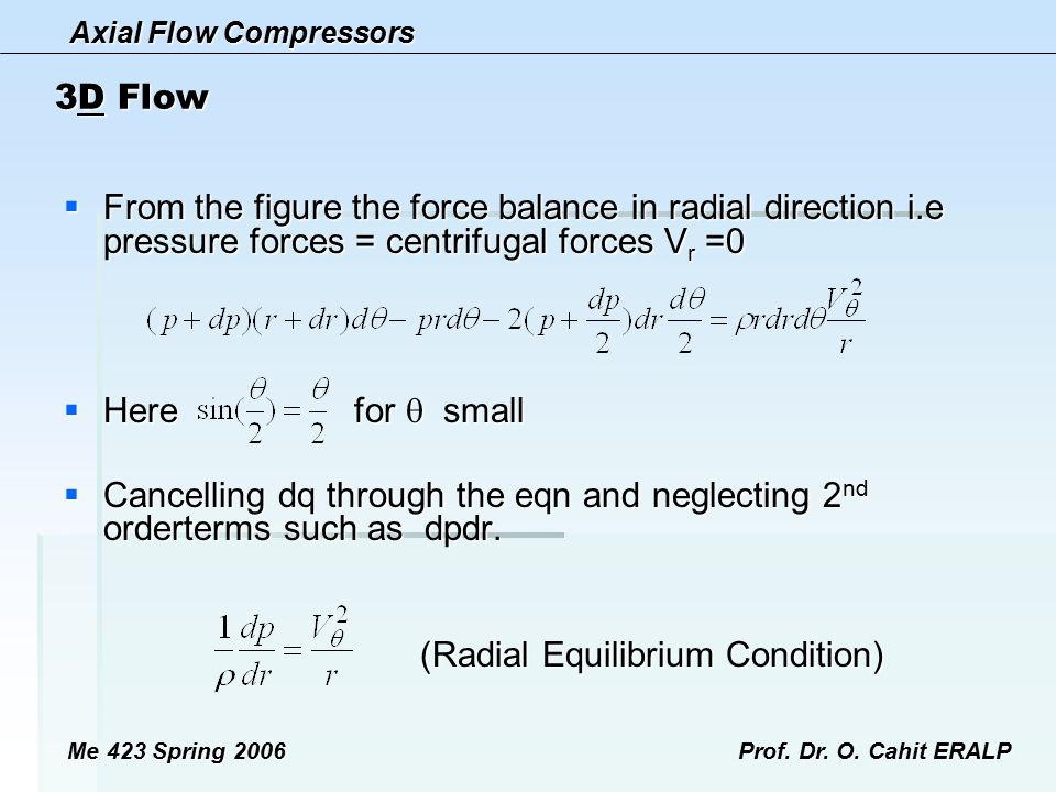 (Radial Equilibrium Condition)