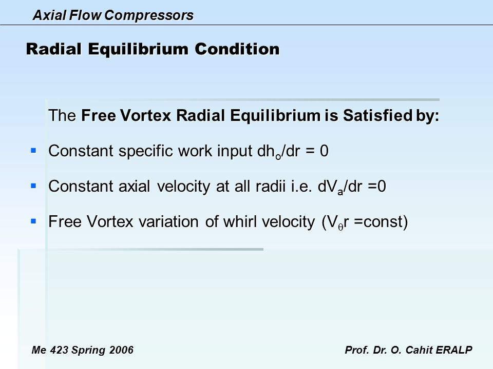 Radial Equilibrium Condition