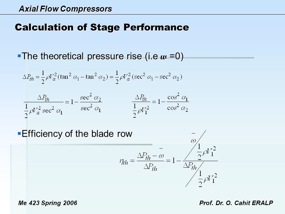 Calculation of Stage Performance