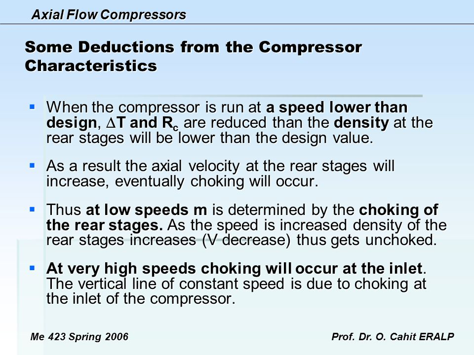 Some Deductions from the Compressor Characteristics