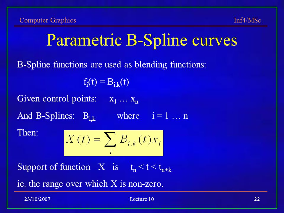 Parametric B-Spline curves