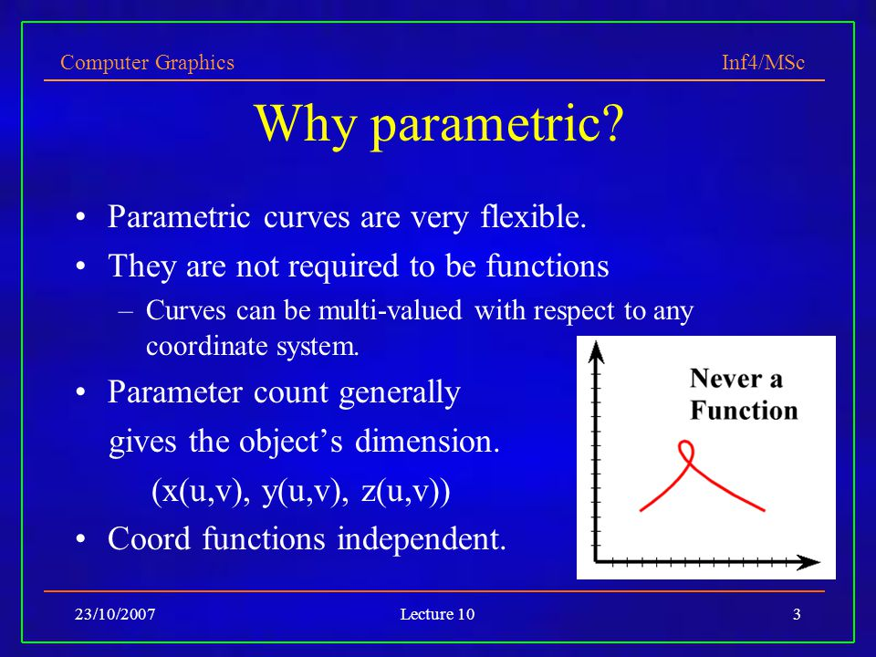 Why parametric Parametric curves are very flexible.