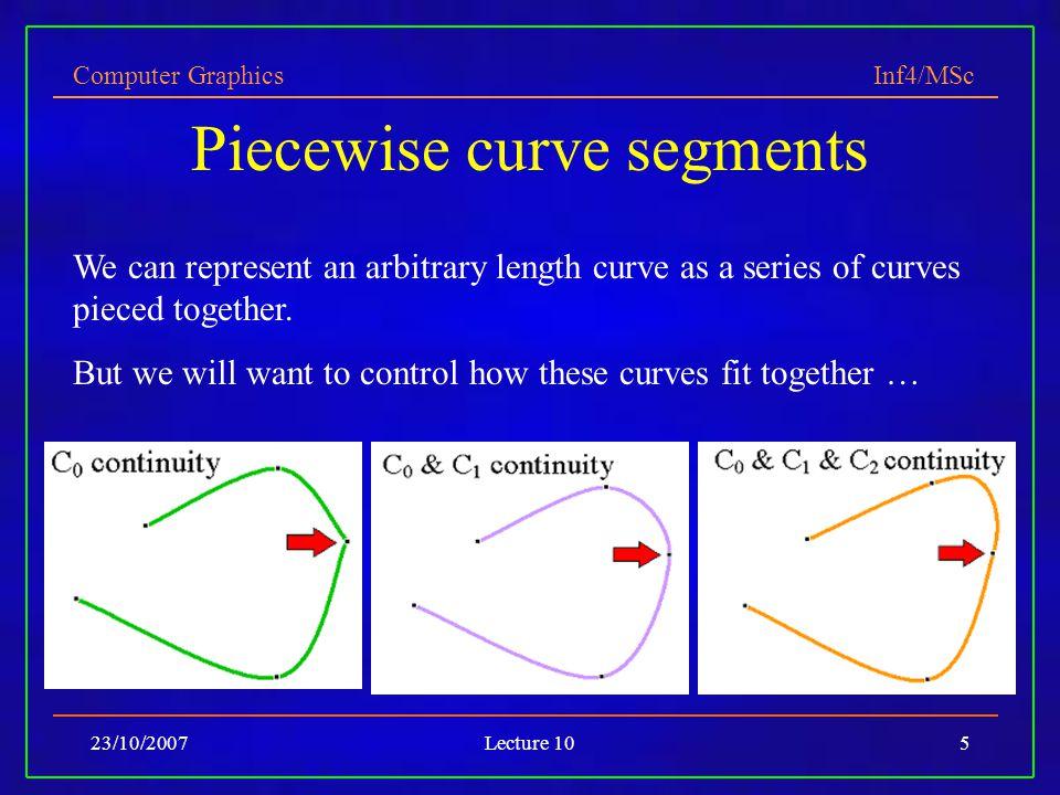 Piecewise curve segments
