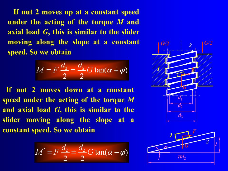 If nut 2 moves up at a constant speed under the acting of the torque M and axial load G, this is similar to the slider moving along the slope at a constant speed. So we obtain