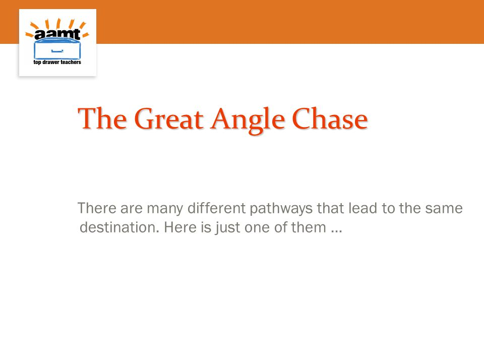 The Great Angle Chase There are many different pathways that lead to the same destination.