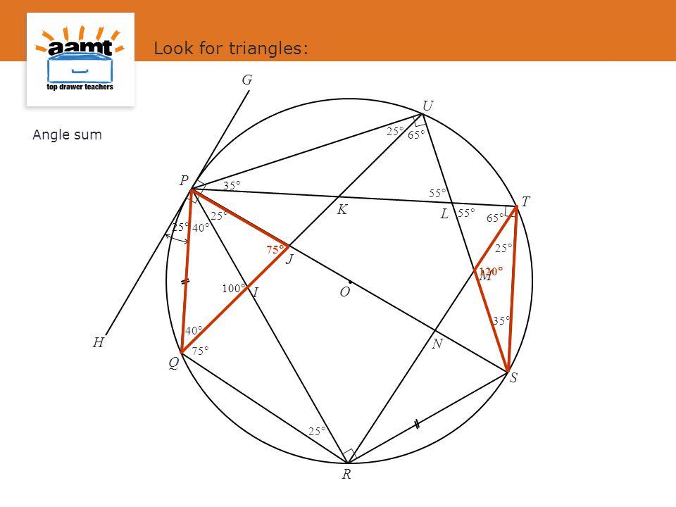 Look for triangles: G U P T K L J M I O H N Q S R Angle sum 25 65