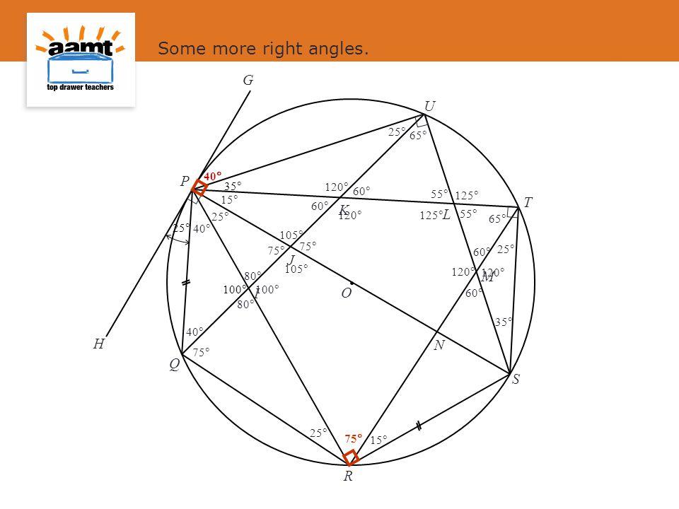 Some more right angles. G U P T K L J M I O H N Q S R 25 100 35 25