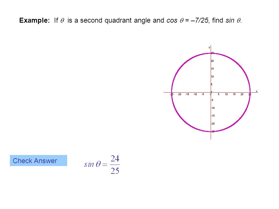 Example: If  is a second quadrant angle and cos  = –7/25, find sin .