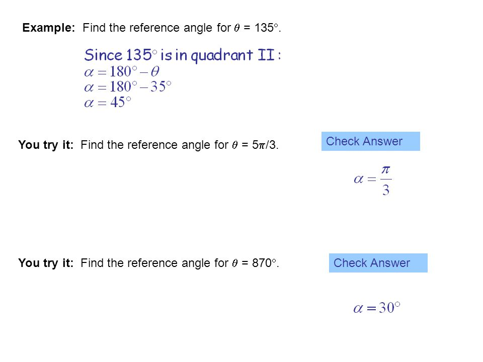 Example: Find the reference angle for  = 135.