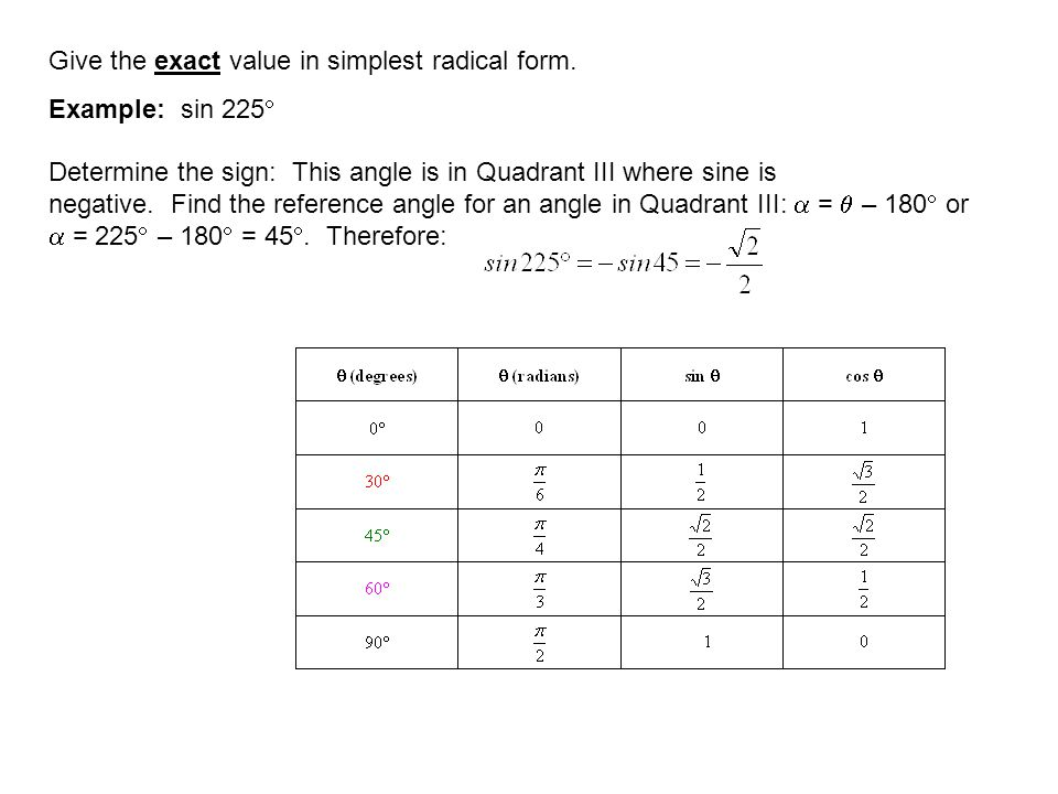 Give the exact value in simplest radical form.