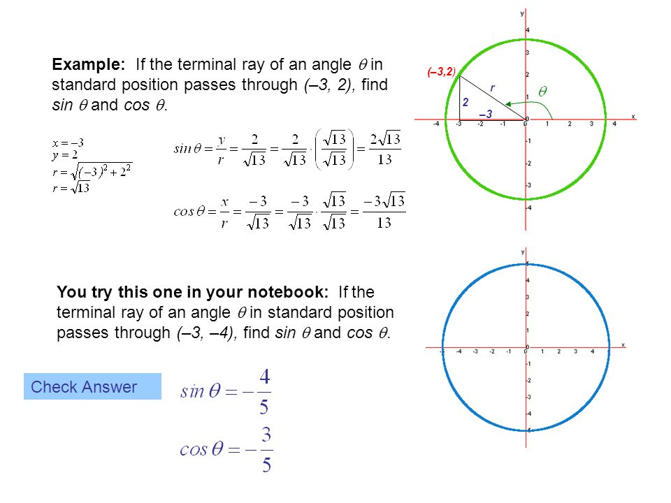 (–3,2) r. –3. 2. Example: If the terminal ray of an angle  in standard position passes through (–3, 2), find sin  and cos .