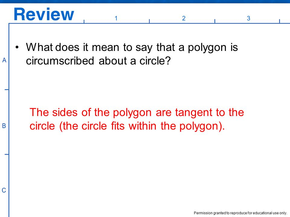 What does it mean to say that a polygon is circumscribed about a circle