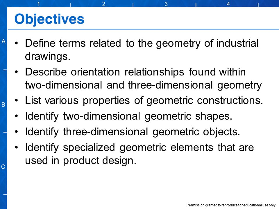 Define terms related to the geometry of industrial drawings.