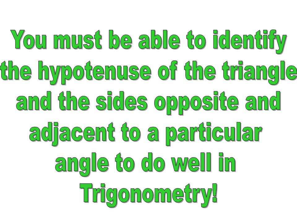 You must be able to identify the hypotenuse of the triangle