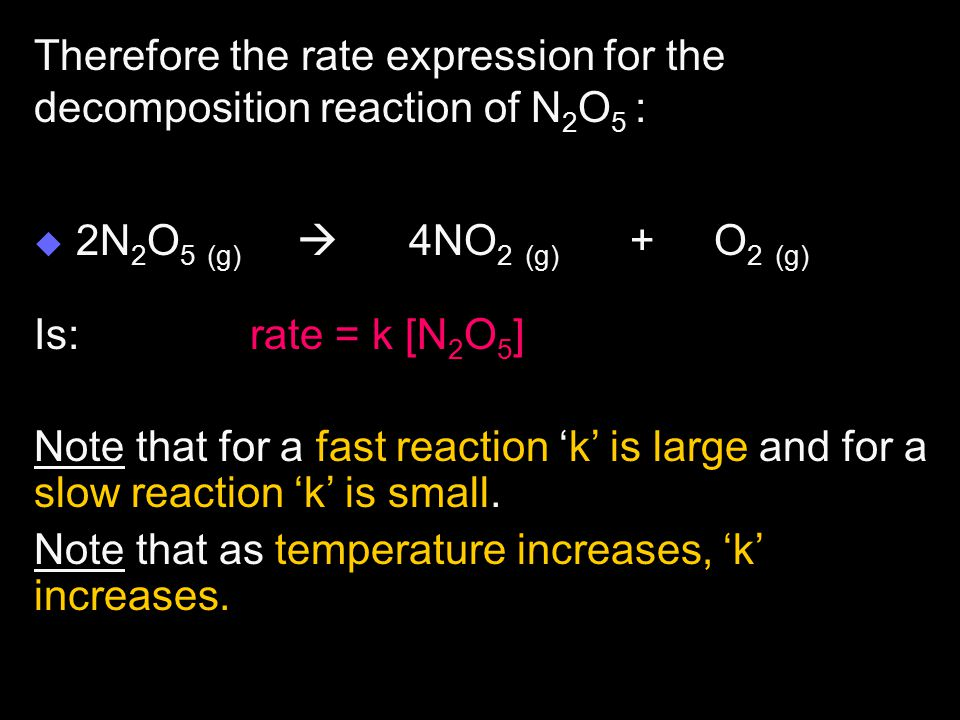 Therefore the rate expression for the decomposition reaction of N2O5 :