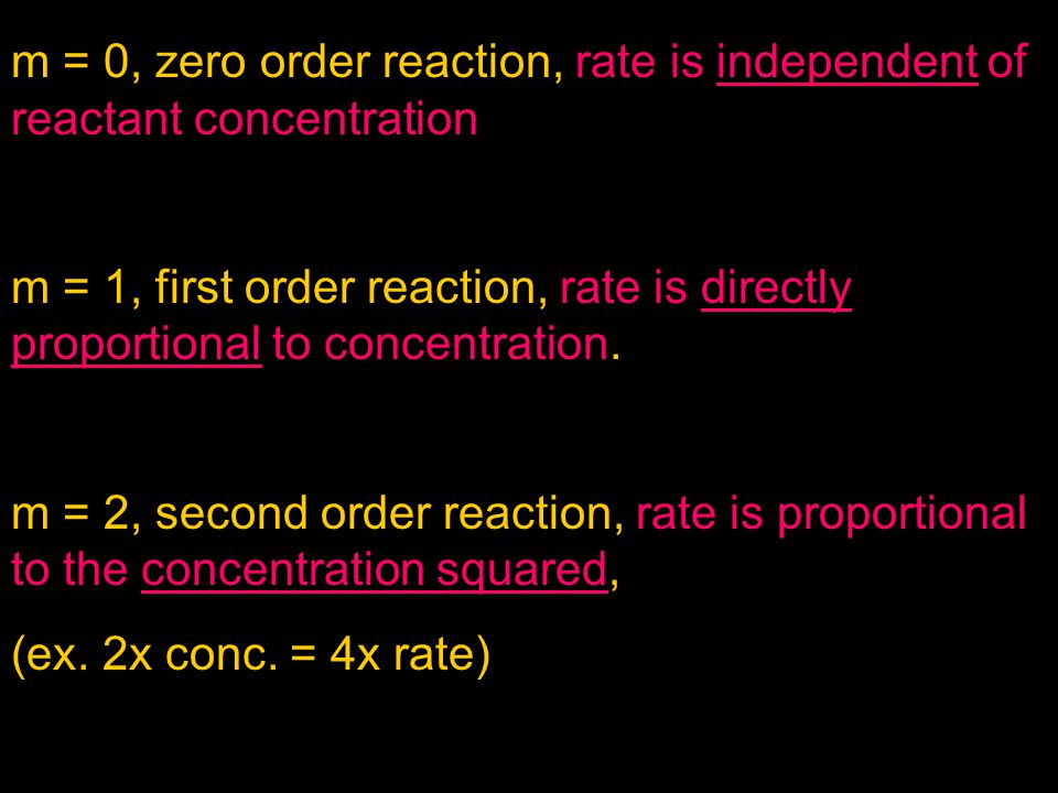 m = 0, zero order reaction, rate is independent of reactant concentration