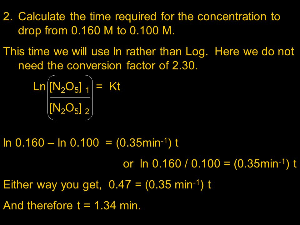 Calculate the time required for the concentration to drop from 0