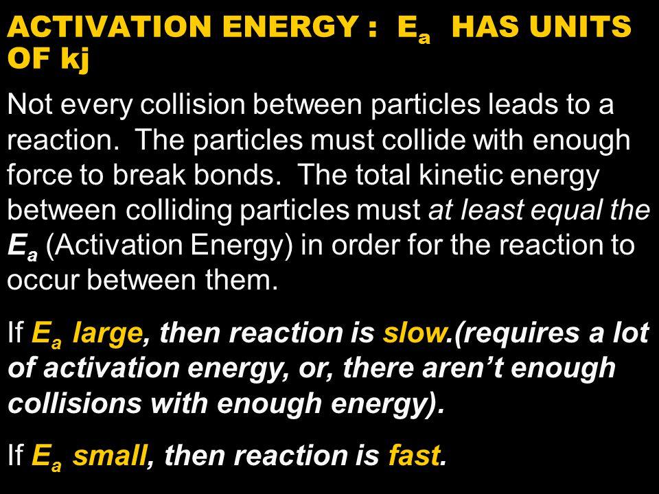 ACTIVATION ENERGY : Ea HAS UNITS OF kj