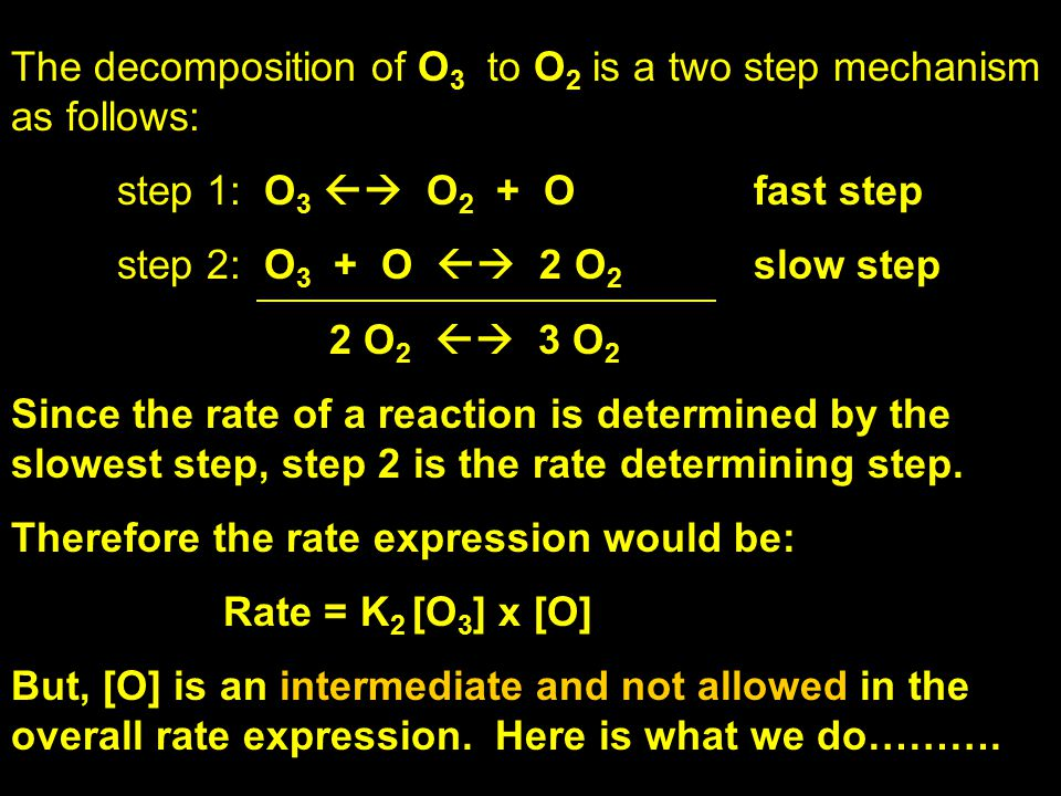 The decomposition of O3 to O2 is a two step mechanism as follows: