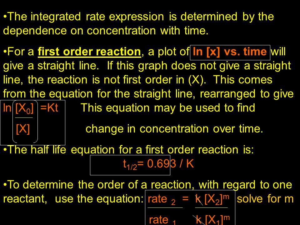 The integrated rate expression is determined by the dependence on concentration with time.