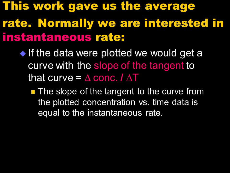 This work gave us the average rate
