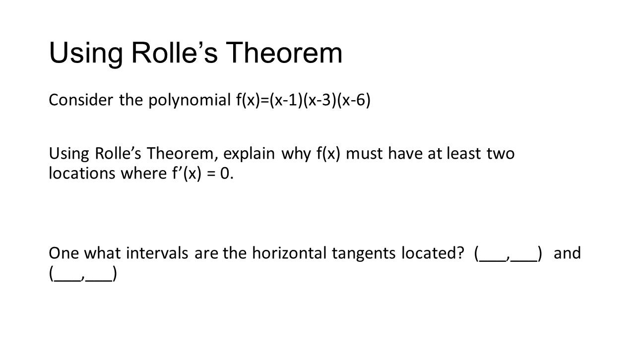 Using Rolle's Theorem