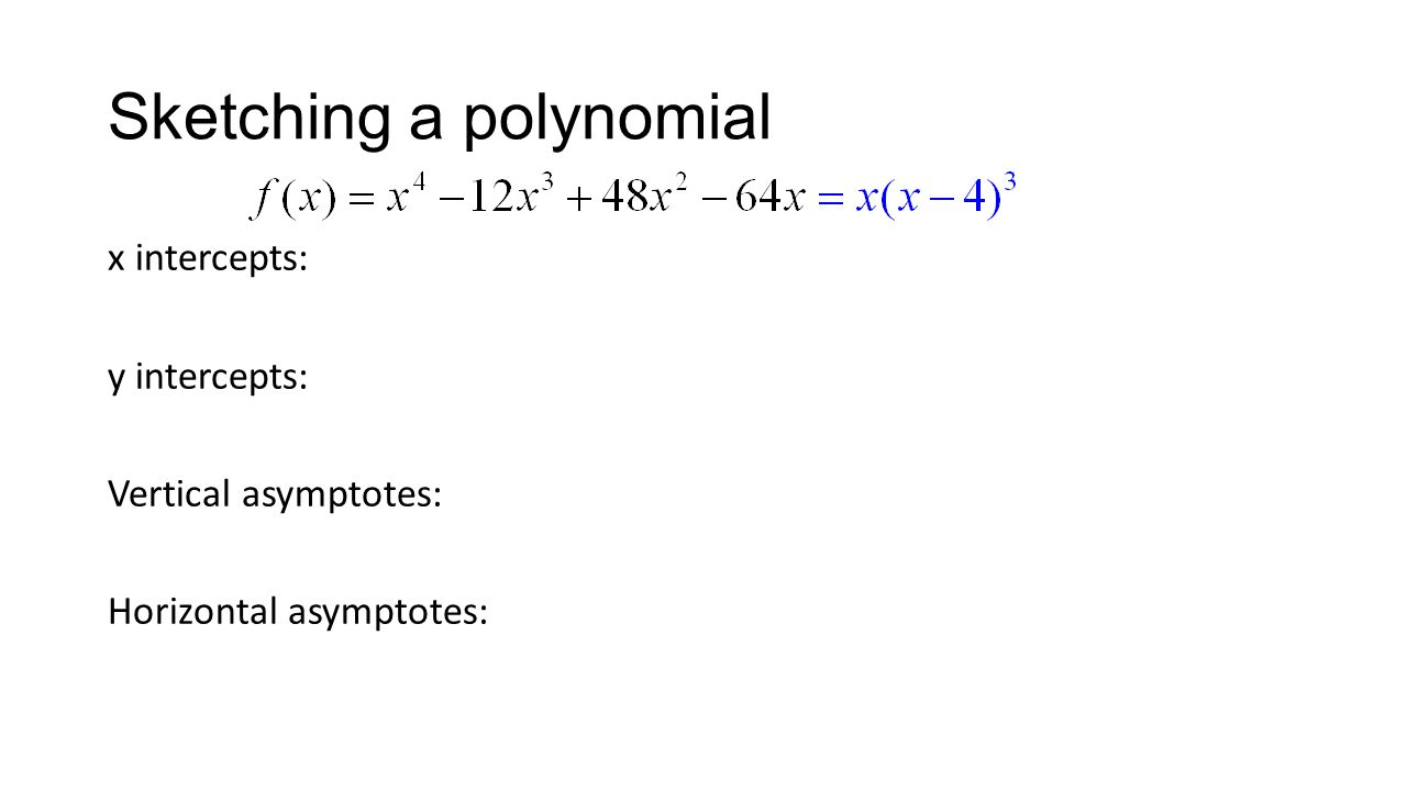 Sketching a polynomial