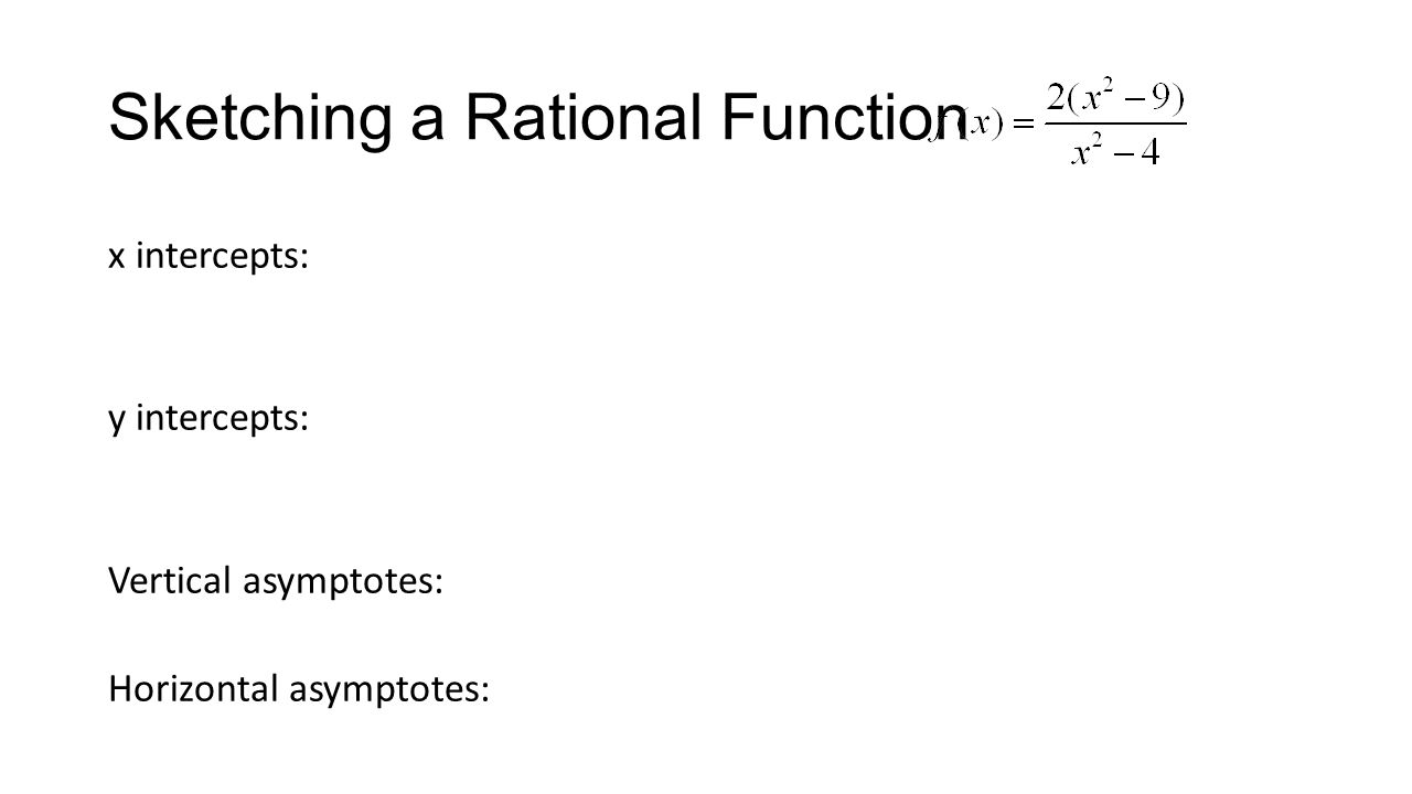 Sketching a Rational Function