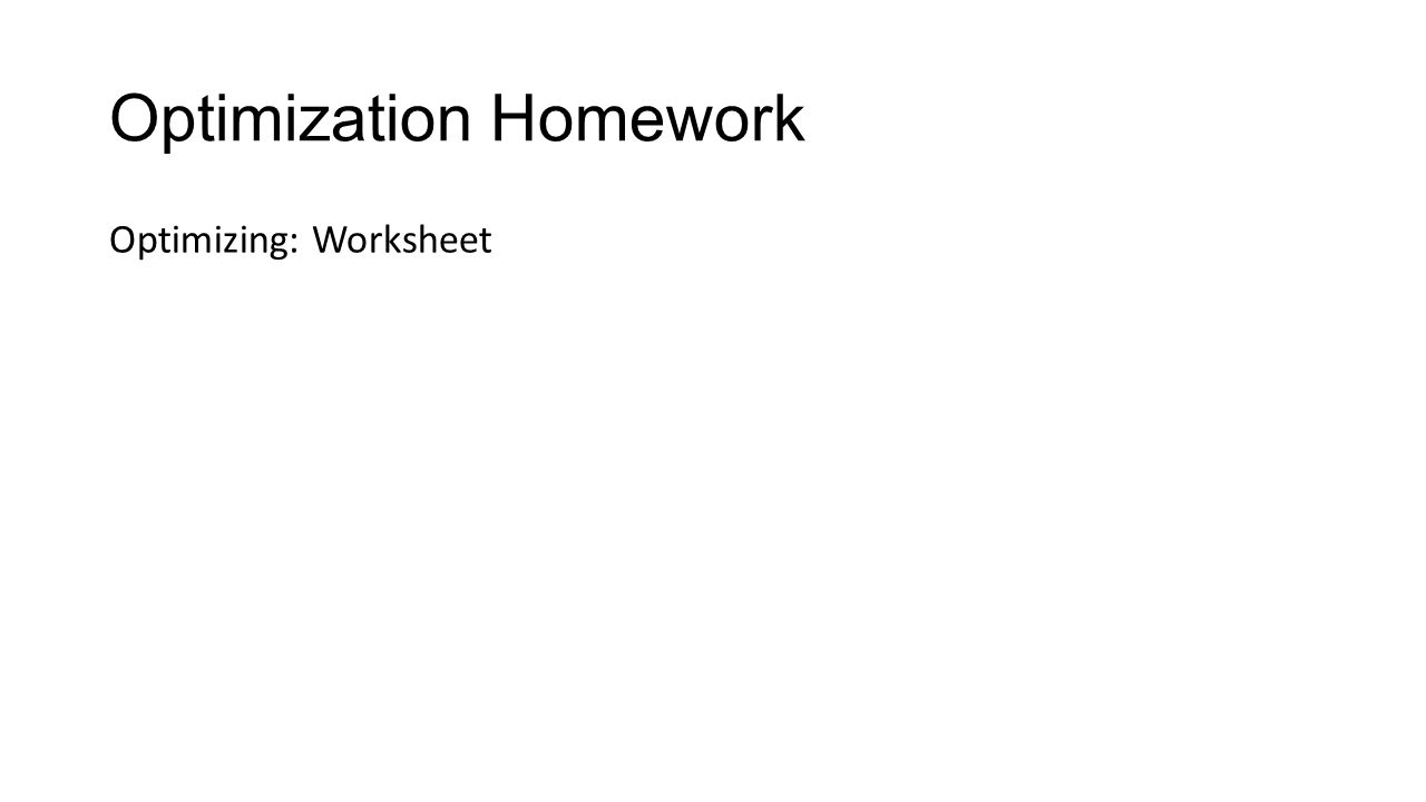 Optimization Homework