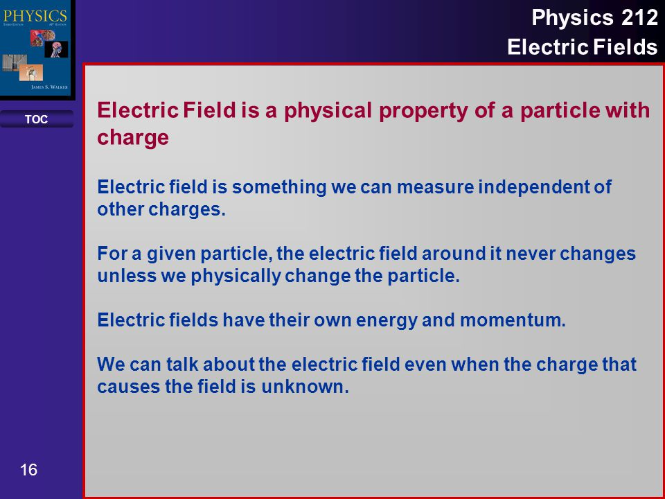 Electric Field is a physical property of a particle with charge