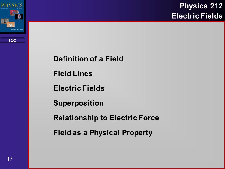 Definition of a Field Field Lines. Electric Fields. Superposition. Relationship to Electric Force.
