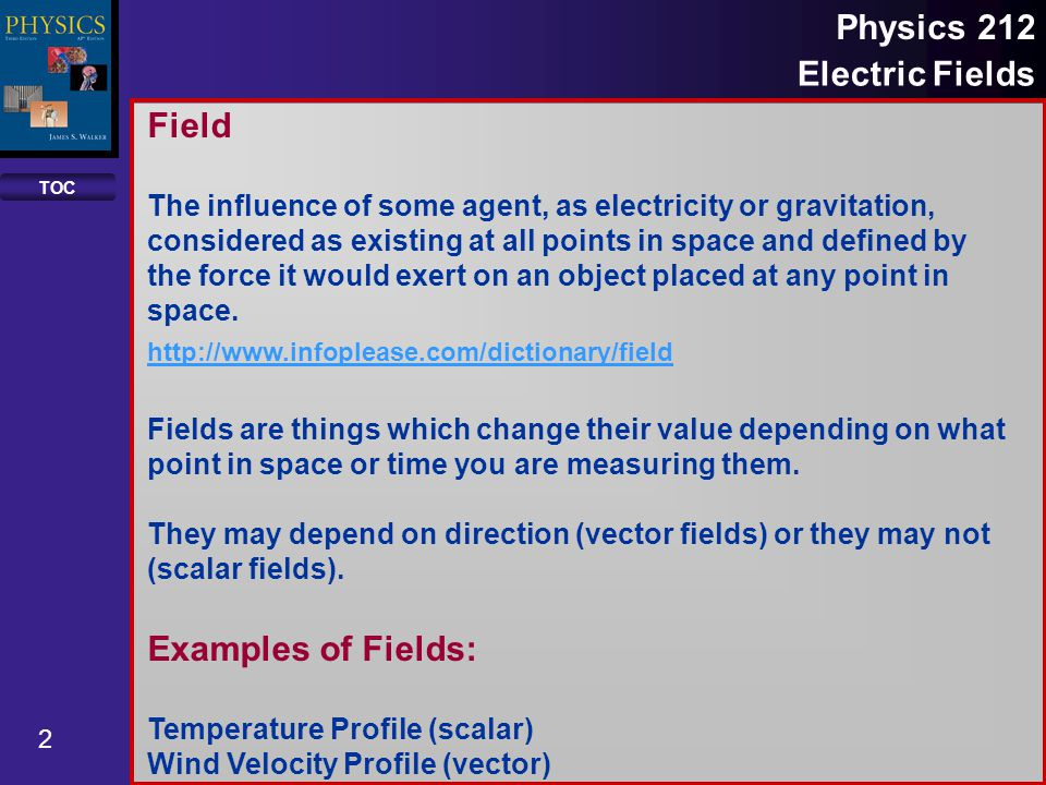 Field Examples of Fields: